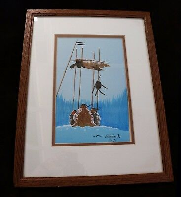 Framed Watercolor Painting Oklahoma Seminole Creek Artist Edmund Joshua, Jr 1979
