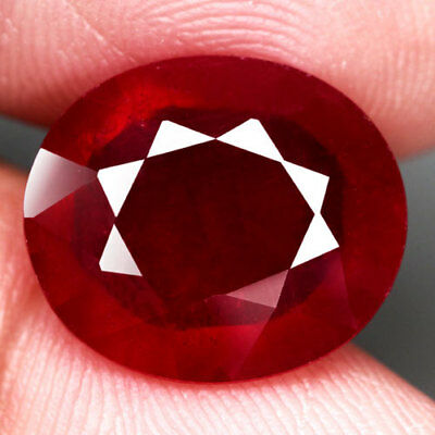 8.35Ct.gorgeous! Oval Facet Top Blood Red Natural Ruby Madagascar Nr!