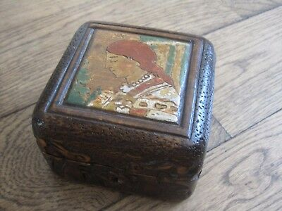 1920s Russian Art Nouveau Russia Folk Art Hand Painted Carved Wooden trinket Box