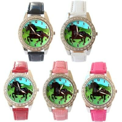 10pcs/Lot, Mixed Bulk Black Horse Leather Strap Quartz Crystal Wristwatch L18M10
