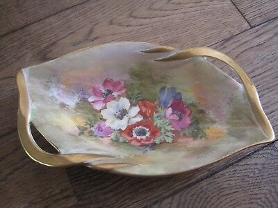 Beautiful 1930s Royal Winton handpainted signed zkas gilt gold floral dish