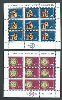 1976 Yugoslavia. Handicraft Set Of Two Stamps In Complete Sheets Of 9. Mnh