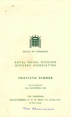 royal naval division officer's association 40th dinner ( house of commons )1965