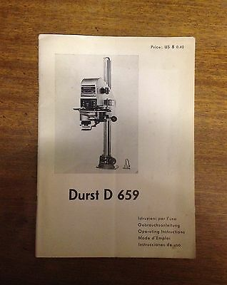 Durst D 659 Professional Precision Enlarger Operating Instructions