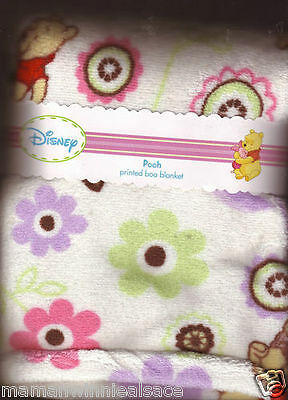 couverture ultra douce neuve disney winnie blanc et rose***