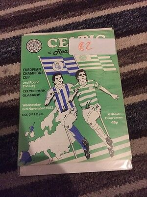 Celtic V Real Sociedad 3rd November 1982 European Cup
