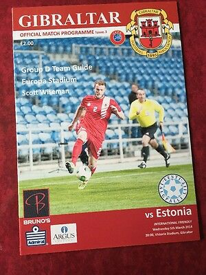 Gibraltar V Estonia 5th March 2014 Rare Match Programme