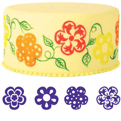 Wilton Cake Flower Stamp Set 4 Stamps NEW