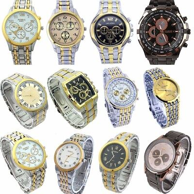10pcs Mixed Lots Golden Men Business Watch Luxury Dress Sport Wristwatches NGT