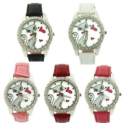 10pcs Wholesale Kids Girl Women 's Leather CAT Cartoons Quartz Wristwatch L35BM