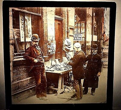Magic Lantern Glass slide, Victorian Oyster seller in Cleethorpes, England