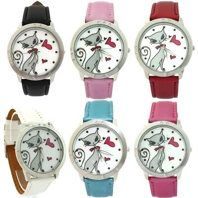 12pcs/Lot Mixed Girls Women Fashion Leather Cartoons Quartz Wrist Watches L35CM