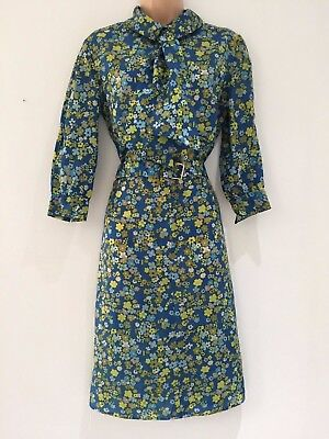 Vintage 70's Mod Blue & Green Floral Print Belted Pussy Bow Day Dress Size 14