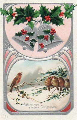 PRETTY VINTAGE CHRISTMAS GREETING postcard BIRDS - ROBIN SPARROW GOLDFINCH bells