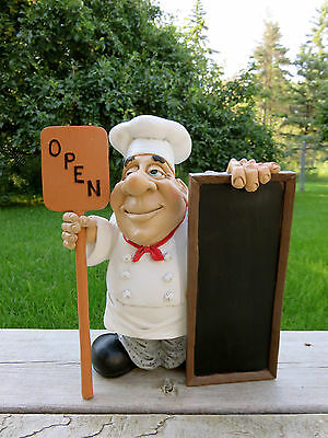 French Chef Open Closed Sign Restaurant Comical Figurine Chalkboard W. Stratford