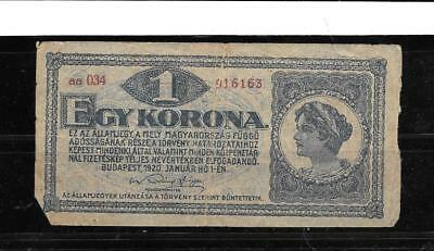 Hungary #57 1920 Good Circ Old Vintage Krona Banknote Paper Money Currency  Note