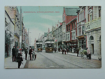 The Star Series colour PC Commercial Street, Newport. Mon. Posted 1911. Trams.