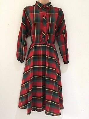 Vintage 80's Retro Red & Green Check Cotton Long Sleeve Casual Day Dress Size 14