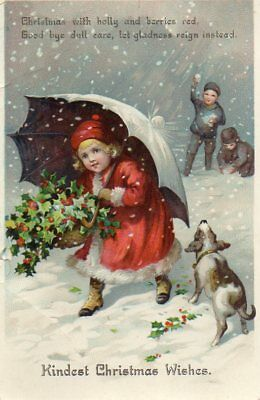 VINTAGE MISCH & CO CHRISTMAS GREETING postcard of BOYS SNOWBALLING GIRL umbrella