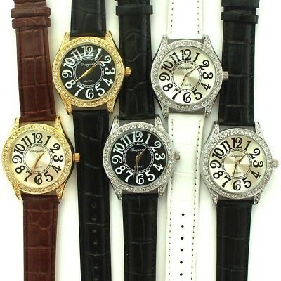 10PCS Mixed Lots Leather Women Men Large Numbers Watch Quartz Wrist Watch U72M
