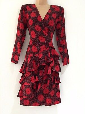 Vintage 80's Red & Black Floral Print 100% Silk Ra Ra Ruffle Layered Dress 10