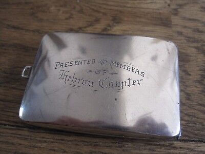 American Webster sterling silver calling card case HEBRON CHAPTER Texas Jewish