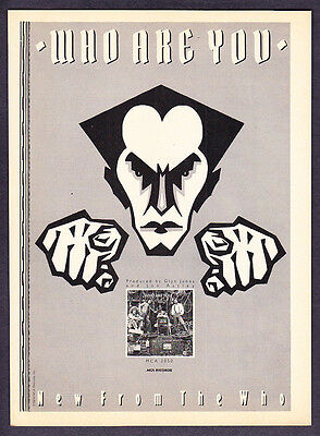 """1978 Rock Band 'The Who' photo """"Who Are You"""" Album vintage promo print ad"""