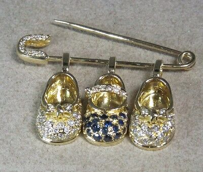 18K Gold Total Carat Weight 1.80 Sapphire Diamond Bootie Shoe Charms Pin Brooch