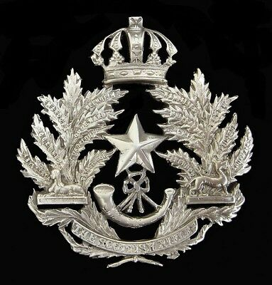 Victorian Cameronians Scottish Rifles Helmet Plate Silver Officers