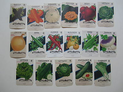 Lot of 17 Old Vintage 1930's - 1960's - VEGETABLE - SEED PACKETS - EMPTY