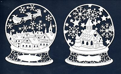 New Tattered Lace  Snowglobe Scene Die Cuts -White Silhouette Christmas Topper