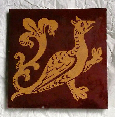 Victorian Minton Decorative Gothic Tile With Griffin/ Pheonix.  Rare Number 47