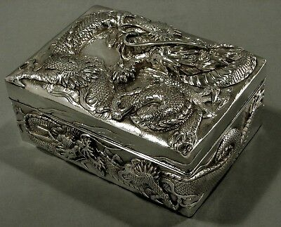 Japanese Sterling Box       * DRAGONS IN FLAMES *     Meiji Period