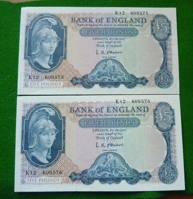 2 X 1955-1962 L K O'brien Sequential Five Pound Notes - K12 608575/6 - Ef+