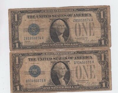 Silver Certificate $1 1928-A  Funny Back  2 notes lower grade
