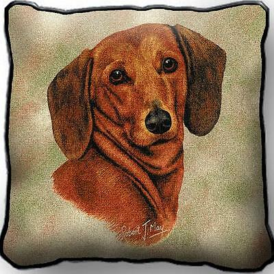 "17"" x 17"" Pillow - Red Dachshund by Robert May 1445"