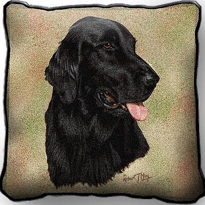 """17"""" x 17"""" Pillow - Flat-Coated Retriever by Robert May 1937"""