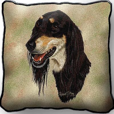 "17"" x 17"" Pillow - Saluki by Robert May 1191  IN STOCK!!"