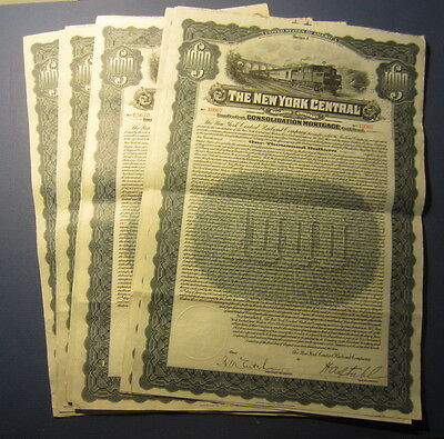 Lot of 10 Old 1913 - New York Central RAILROAD - GOLD BOND Certificates - TRAIN