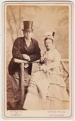 Portrait CDV-CRYSTAL PALACE, man in top hat with wife by NEGRETTI & ZAMBRA