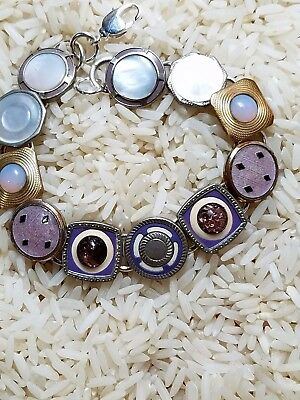 Art deco cufflink bracelet: lavender and violet