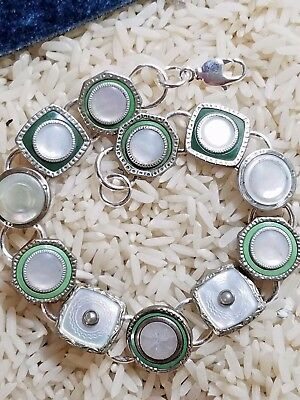 Art deco cufflink bracelet:  Shades of Green
