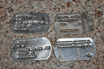 4 - WW2 to vietnam US Dog Tags US ARMY , Stevens,wilson,Hock,FRANCIS O'CONNELL