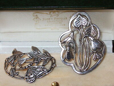 2 x Delightful Silver Scenes Silver on Pewter Floral Brooches
