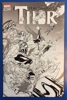 Mighty Thor #700 1:100 Russell Dauterman Wrap-Around B/w Sketch Variant Nm/m