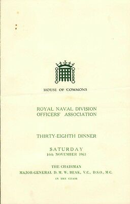 royal naval division officer's association 38th dinner ( house of commons )1963