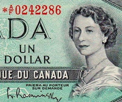 1954 Canada (Qe Ii) **star Note**, $1 » Cv $80 « ~Replacement Note~