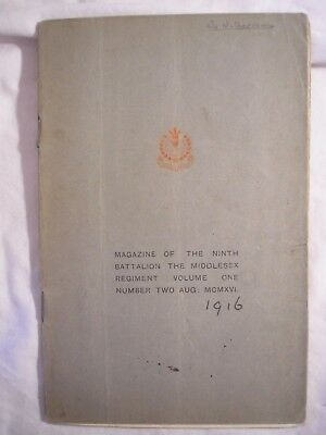 9th Bn Middlesex Regiment Journal British Army India 1916  Military History PWRR