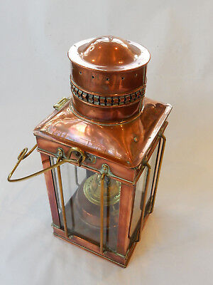 Antique Edwardian Polished Copper Oil Burner Glass Lantern Outdoor Light