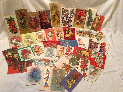 20s-70s Vintage Christmas Cards, Lot of 40 ~ All Have Bells On Front